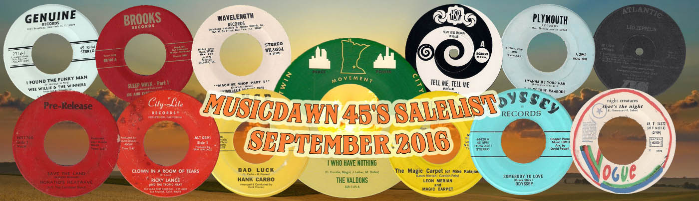 Musicdawn September 2016 45s Sale List