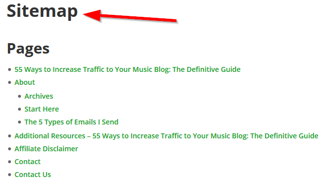 Discovering content with the sitemap