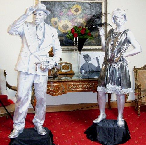 1920's Silver Male Female Statues