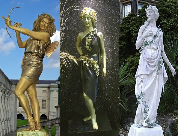 Cupid, Lady In Gold And Classical Lady Statue