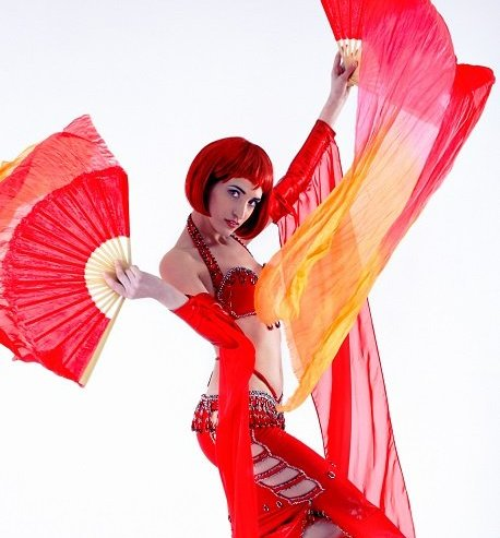 Oriental Belly Dancer And Fire Performer