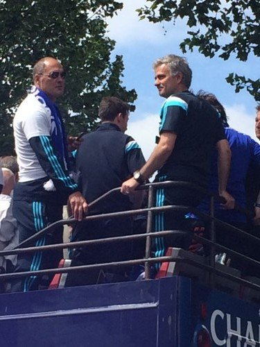 Chelsea FC Brass Band performing for Players and Jose Maurinho