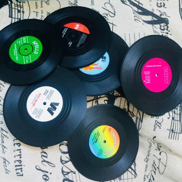 Подложки за чаши мини винил, грамофонна плоча, 6 броя в комплект
