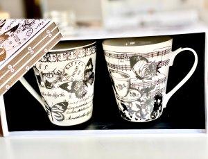 комплект, чаши, ноти, пеперуди, музика, музикални, кафе, чай, 3в1, капучино, подарък, кутия, двама, две