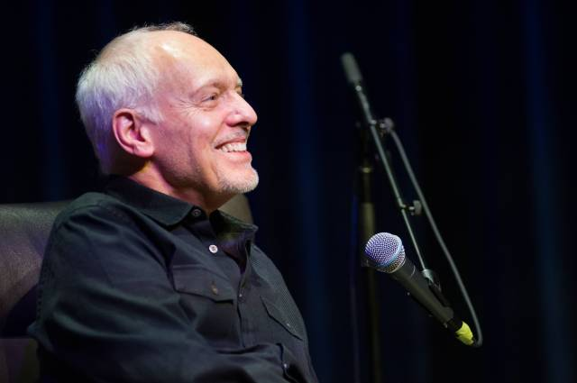 Peter Frampton answers questions from the audience at GRAMMY Museum Mississippi on Nov. 3, 2017, in Cleveland, Mississippi.