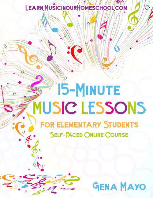 15-Minute Music Lessons self-paced online course for elementary students. 15 separate lessons with printables at Learn.MusicinOurHomeschool.com. #musicinourhomeschool #musiceducationfreebie #musiclessonsforkids