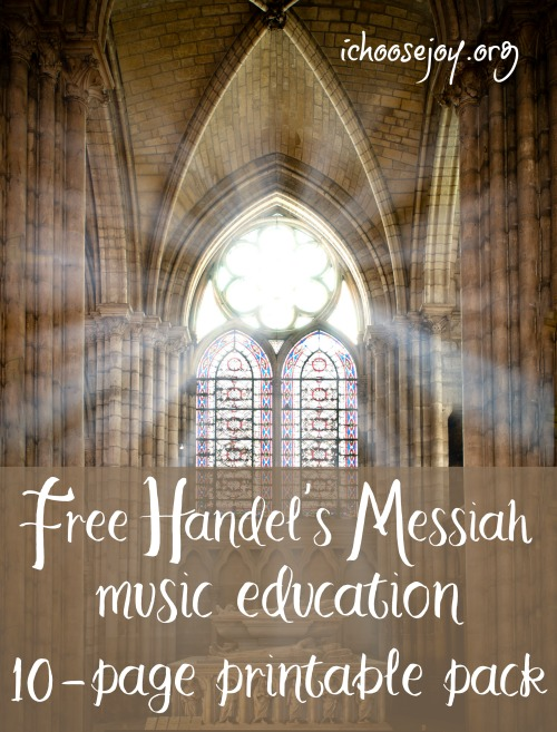 Free Handel's Messiah music education 10-page printable pack from Music in Our Homeschool #musicinourhomeschool #homeschoolmusic #handelsmessiah