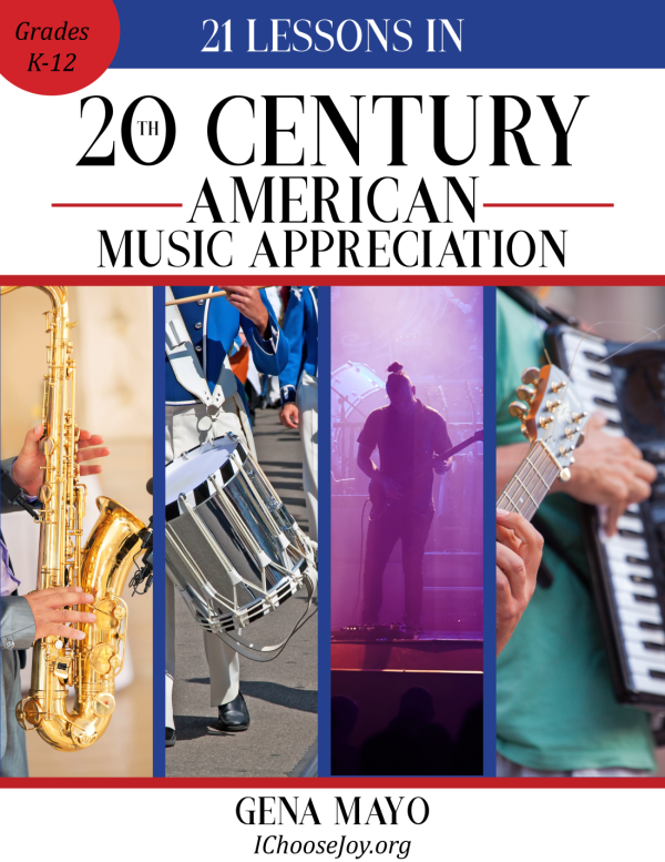 """21 Lessons in 20th Century American Music Appreciation"" is a wonderful way to study American music for grades K-12th, can even be used for high school credit! #musicappreciation #musichistory #musiclessonsforkids #homeschoolmusic #musicinourhomeschool"