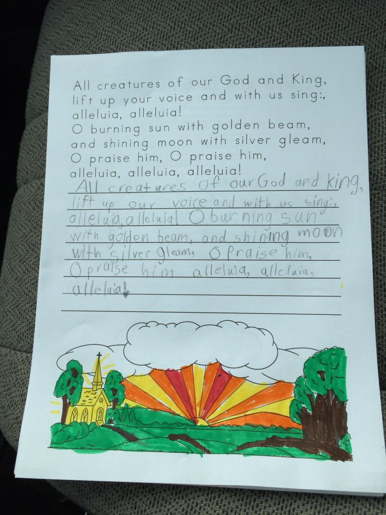 Homeschool Copywork All Creatures of Our God and King
