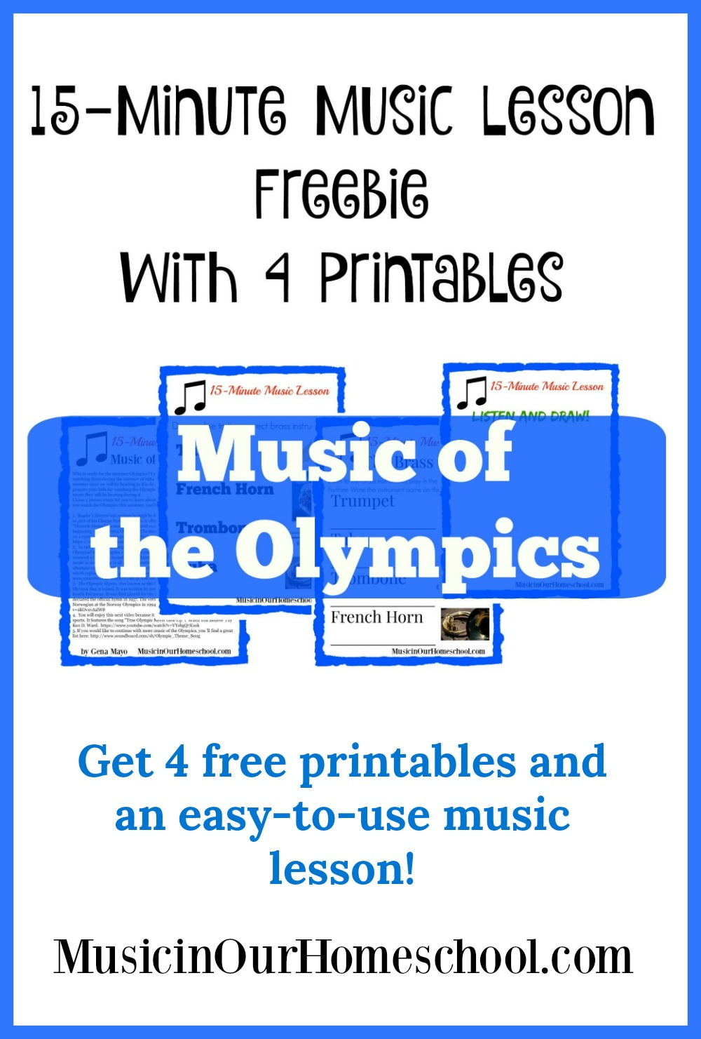 Get this free 15-Minute Music Lesson for music of the Olympics. #musicinourhomeschool #homeschoolmusic #elementarymusic #musiclessonsforkids