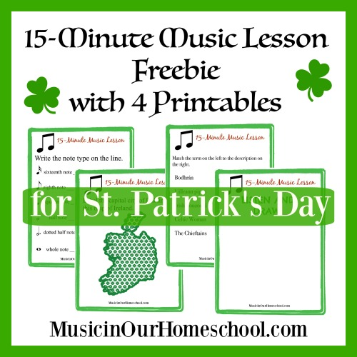 15-Minute Music Lesson Freebie with 4 Printables for St. Patrick's Day