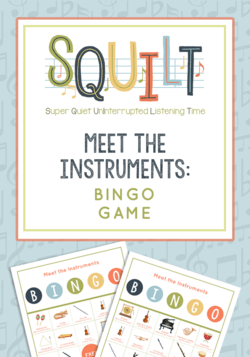 Meet the Instruments Bingo is from SQUILT (Super Quiet UnInterrupted Listening Time) and is perfect for kids to learn how instruments look and sound! From Music in Our Homeschool #musicgames #musiclessonsforkids #elementarymusic #musicteacher #musicinourhomeschool #musicbingo