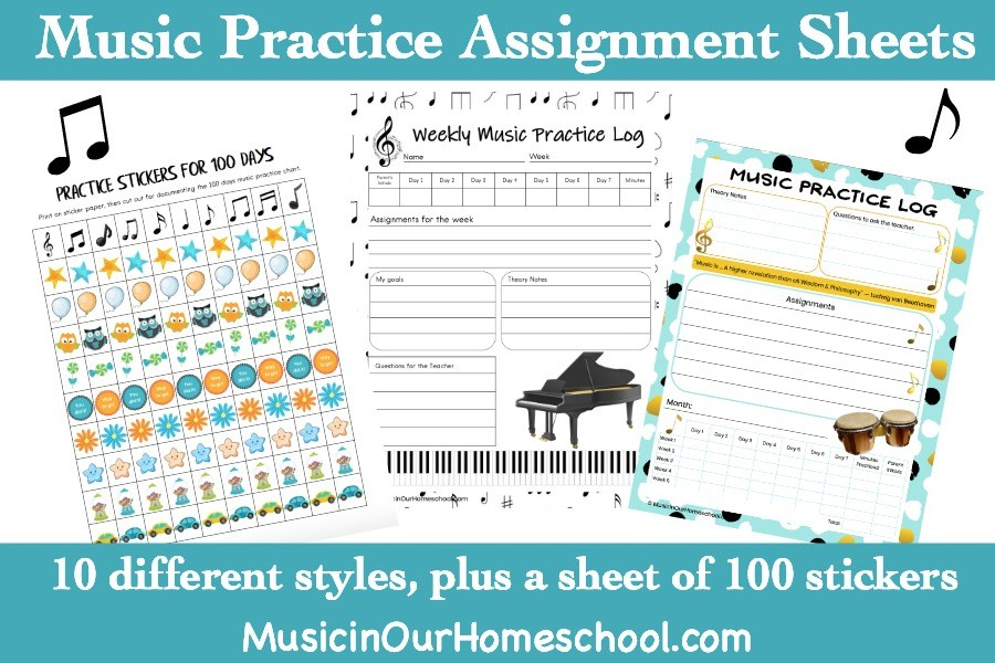 Find 10 beautiful and classy music practice assignment sheets that you can use to get your kids motivated to practice their instruments. The choices include monthly, weekly, and even a 100-day practice chart with a set of stickers to print for it. #musiclessons #musiclessonsforkids #instrumentpractice #pianolessons #musicprintables #ichoosejoyblog #musicinourhomeschool