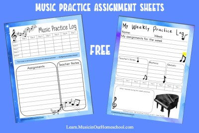 Music Practice Assignment Sheets freebie