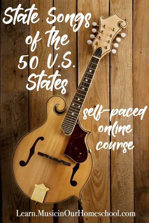 """""""State Songs of the 50 U.S. States"""" online course from Music in Our Homeschool is the perfect way to combine geography and music education in your homeschool, classroom, or homeschool co-op. Click through to see a free preview lesson. #musiccourse #elementarymusic #musiceducation #musiclessonsforkids #musicinourhomeschool"""
