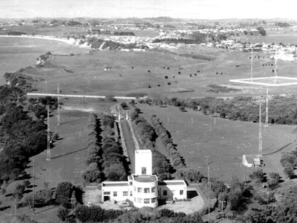 Aerial view of Musick Memorial Radio Station in 1961