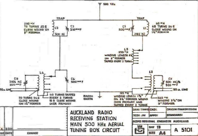 Auckland Radio ZLD 500 kcs antenna tuning unit