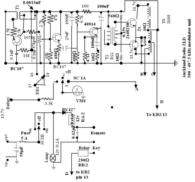 Tone modulator circuit for 500 kcs transmitter