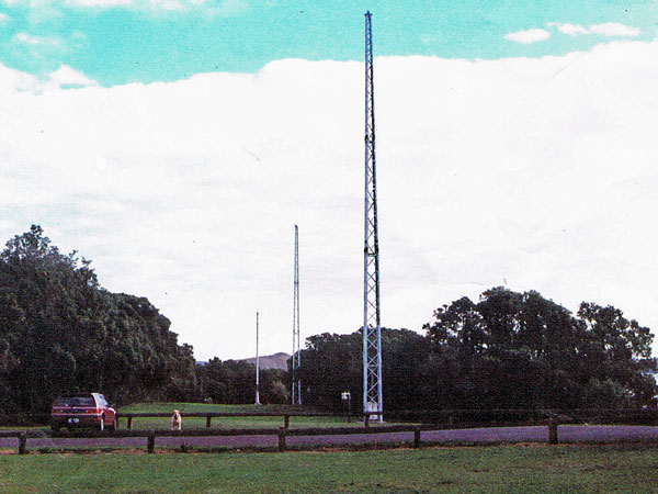 The east towers of ZLD, with the 2182kHz polein the distance, as seen looking north from the carpark.