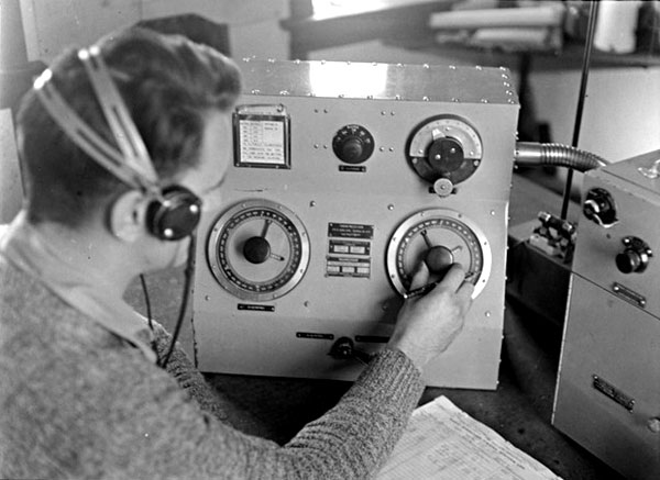 Radio operator RD Goodman at Musick Memorial Radio Station, 29 August 1946