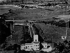 Musick Point Radio Station from the air, showing the old direction-finding masts