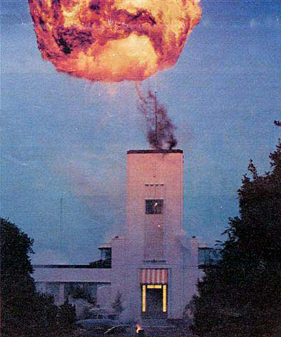 A fireball lights up the sky above Musick Memorial Radio Station during a 1985 broadcast of Terry and the Gunrunners