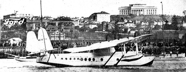 Samoan Clipper approaches her moorings after landing in Auckland, 30 March 1937