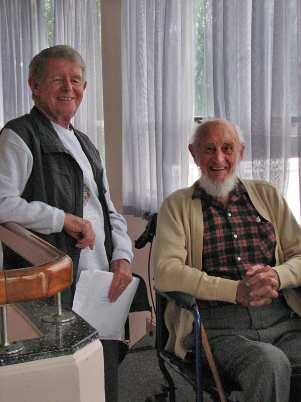 Former Auckland Radio operators Ramon Chandler (left) and Nobby Clarke