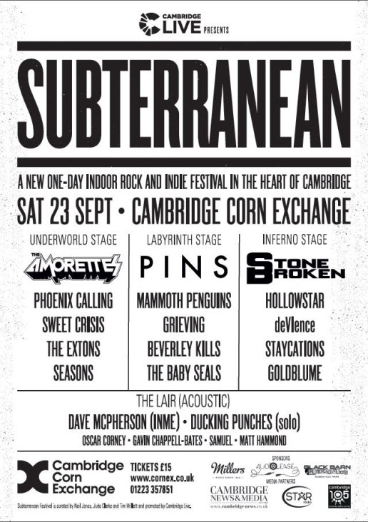 Line-up announced for Subterranean: A new indoor rock and indie festival