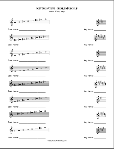 Fresh And Fun Idea Key Signature Scale Matchup Music Worksheets