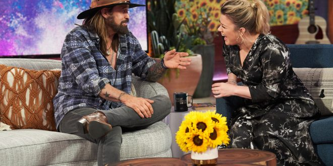 "Billy Ray Cyrus and Kelly Clarkson on ""The Kelly Clarkson Show"" Photo Courtesy: ""The Kelly Clarkson Show"""