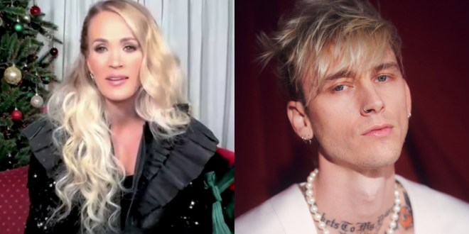 Carrie Underwood and Machine Gun Kelly; Photos Courtesy of Apple Music and MTV