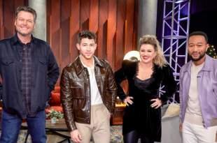 Blake Shelton, Nick Jonas, Kelly Clarkson and John Legend; Photo Courtesy of NBC