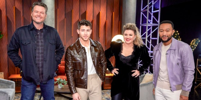 Blake Shelton, Nick Jonas, Kelly Clarkson and John Legend; Photo Courtesy of NBC