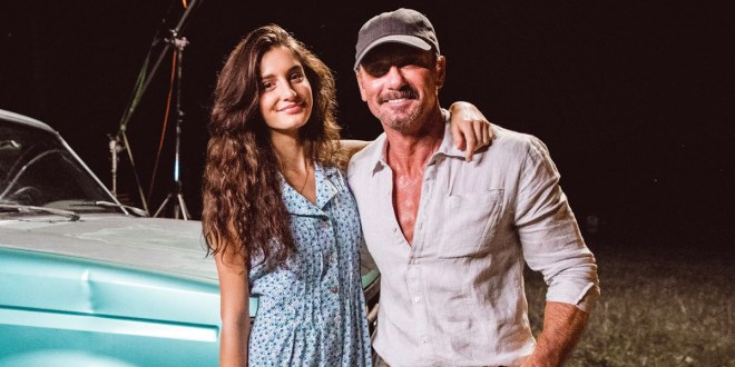 Tim McGraw and daughter Audrey; Photo by Nick Rau
