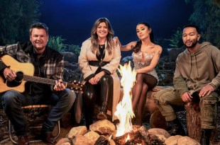 Blake Shelton, Kelly Clarkson, Ariana Grande and John Legend; Courtesy of NBC