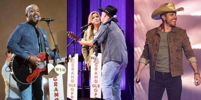 Darius Rucker, Trisha Yearwood & Garth Brooks, Photo Courtesy of Opry; Dustin Lynch, Photo By Andrew Wendowski