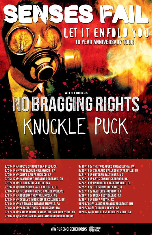 Senses Fail announce Let It Enfold You 10th Anniversary Tour with no bragging rights and knuckle puck