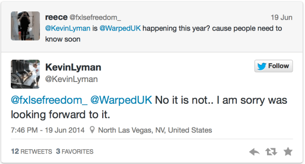 Kevin Lyman confirms Vans Warped Tour will not be returning to the UK in 2014
