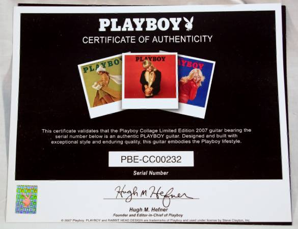 Steve Clayton Playboy guitar, Hugh Hefner signed certificate
