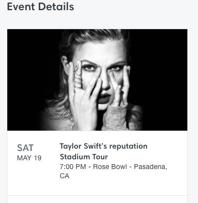 TAYLOR SWIFT TICKET • MAY 19th – $160