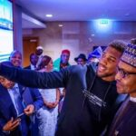 President Muhammadu Buhari celebrates the decisive victory of Nigerian-born boxer, Anthony Joshua over Kubrat Pulev Saturday night.