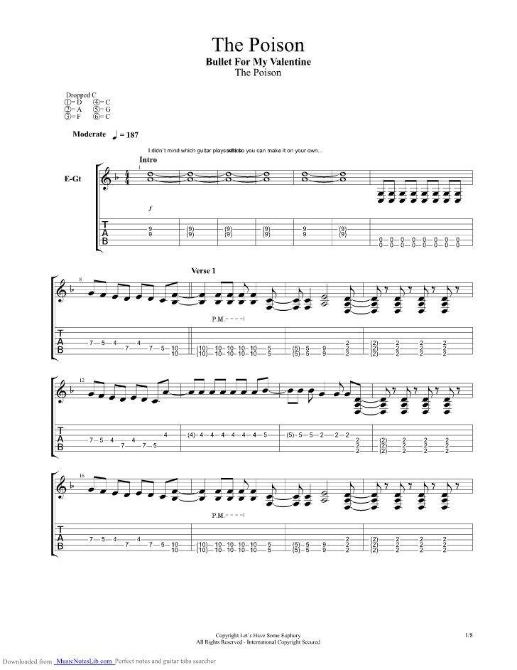 The Poison Guitar Pro Tab By Bullet For My Valentine