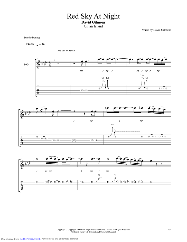 Red Sky At Night Guitar Pro Tab By David Gilmour
