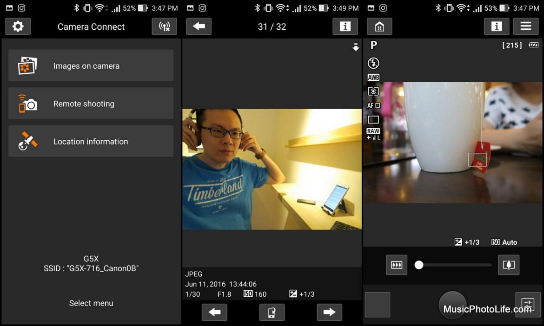 Canon Camera Connect app screenshots