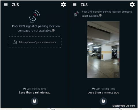 ZUS app asks you to take a photo if it cannot record GPS.