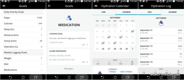 Striiv smartphone app, goal settings and medication tracking