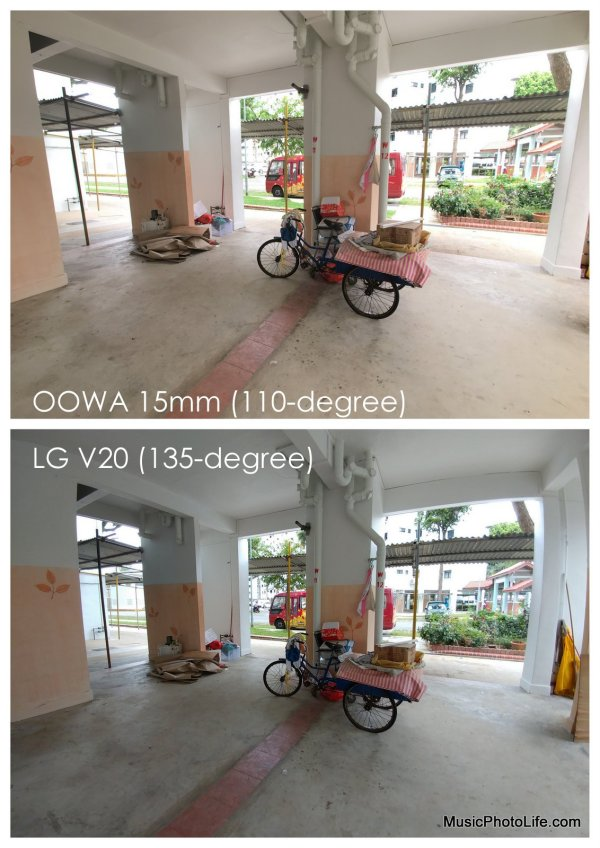 OOWA 15mm wide angle Lens Attachment compared with LG V20