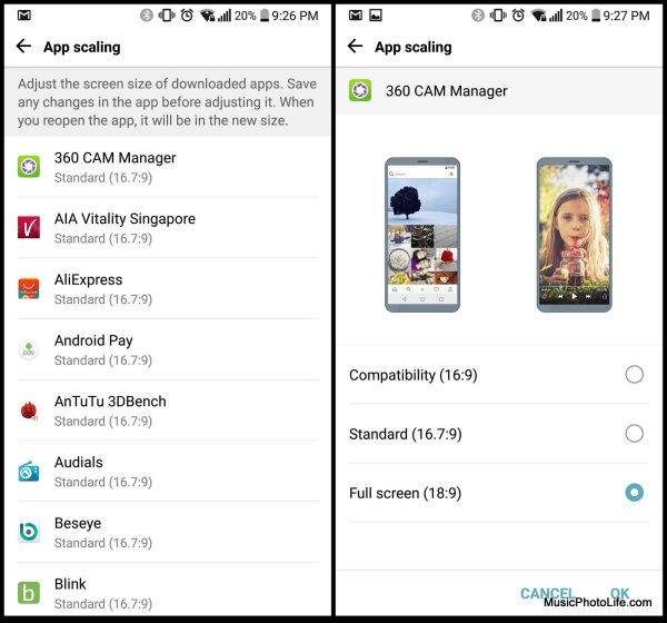 LG G6 App Scaling