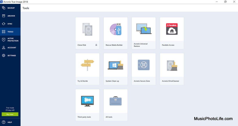 Acronis True Image 2018 software - tools menu